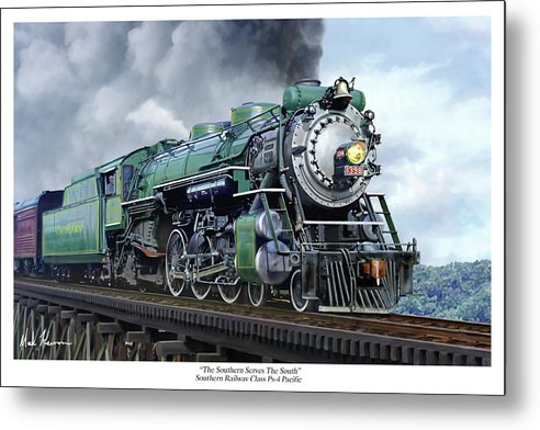 Railraod Metal Print featuring the painting Southern Railway Class Ps-4 Pacific by Mark Karvon