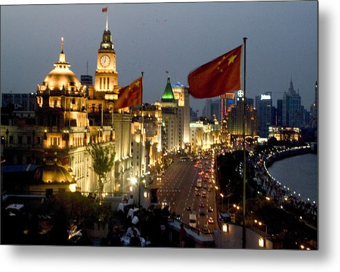 Shanghai Bund Metal Print featuring the photograph Shanghai Bund At Night by Charles Ridgway