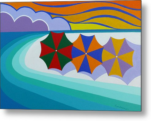 Beach Metal Print featuring the painting Umbrellas On The Beach by James Cordasco