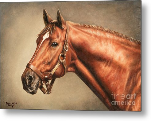 Secretariat Metal Print featuring the painting Secretariat At Claiborne by Thomas Allen Pauly