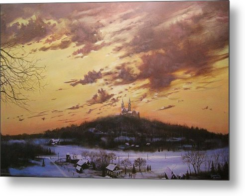 Holy Hill Metal Print featuring the painting Winter's Eve At Holy Hill by Tom Shropshire
