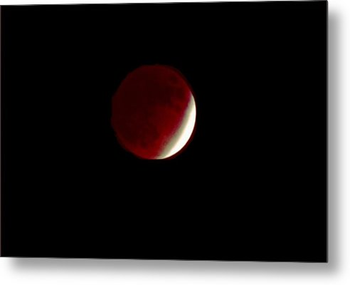 Moon Metal Print featuring the photograph 110808-1 Lunar Eclipse Near Totality by Mike Davis