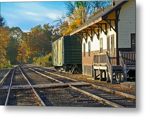 Trains Metal Print featuring the photograph At The Station by Gerald Mitchell