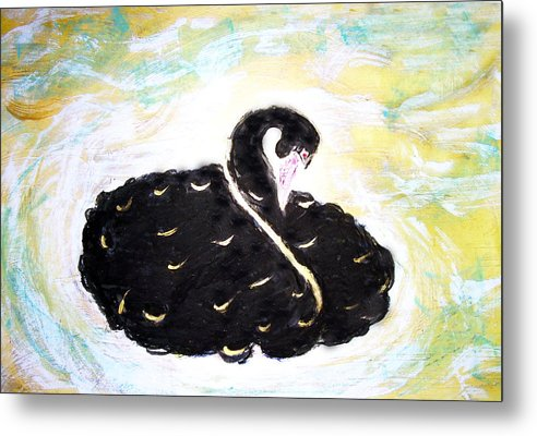 Swan Metal Print featuring the painting Black Swan by Michela Akers
