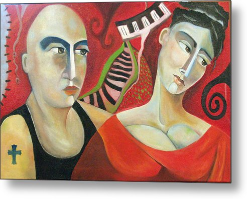 Man Woman Cubist Music Piano Red Cross Metal Print featuring the painting Corazon Pesado by Niki Sands