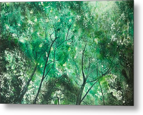 Trees Metal Print featuring the painting Divine Light by Aymeric NOA