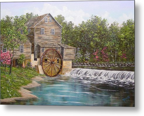 Landscape Metal Print featuring the painting Pigeon Forge Mill by Marveta Foutch