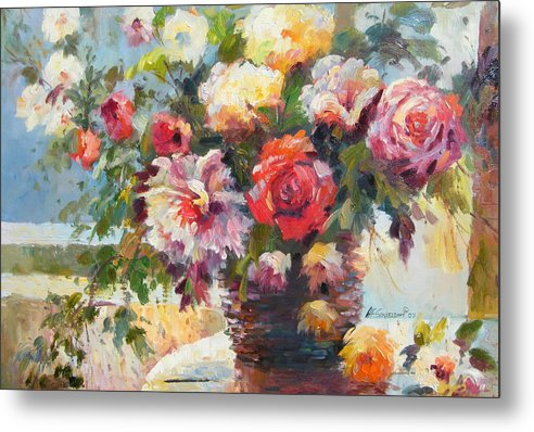 Still Life Metal Print featuring the painting Sunlight And Flowers by Imagine Art Works Studio
