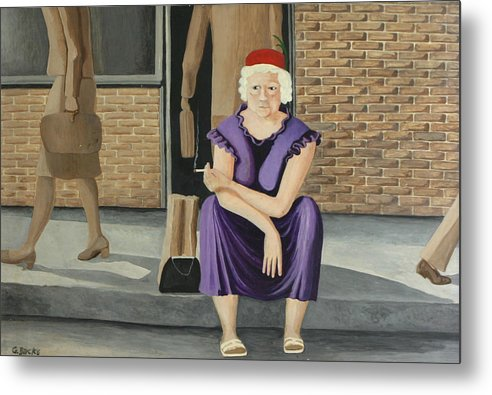 Figurative Metal Print featuring the painting The Purple Dress by Georgette Backs