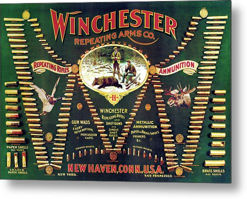 Cartridges Metal Print featuring the painting Winchester Double W Cartridge Board by Unknown