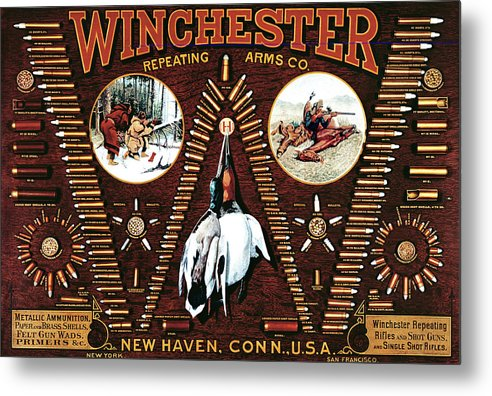 Cartridges Metal Print featuring the painting Winchester W Cartridge Board by Unknown