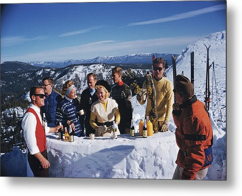 Skiing Metal Print featuring the photograph Apres Ski by Slim Aarons