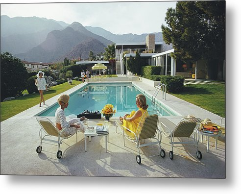 Swimming Pool Metal Print featuring the photograph Poolside Gossip by Slim Aarons
