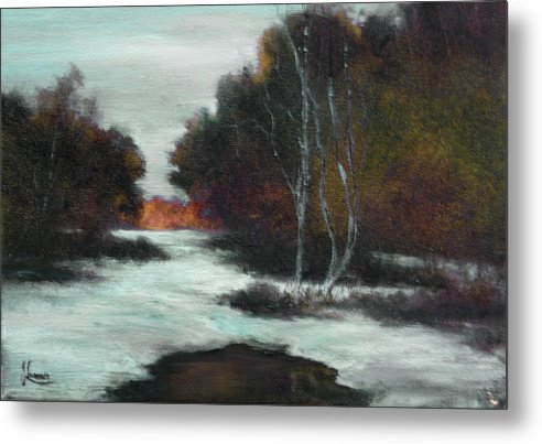 Winter Metal Print featuring the painting Bundle Up by JoAnne Lussier