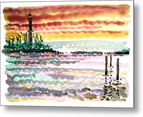 Sunrise Metal Print featuring the painting Lighthouse Point Sunrise by Ralph Papa