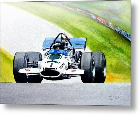 Motor Sport F5000 Peter Gethin Metal Print featuring the painting Peter Gethin by Steve Jones