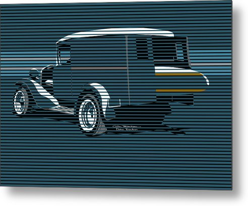 Surf Truck Metal Print featuring the painting Surf Truck Ocean Blue by MOTORVATE STUDIO Colin Tresadern