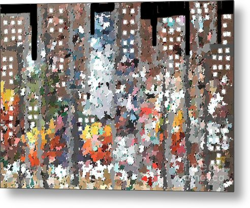 Abstract Metal Print featuring the painting A Night In Chicago by Don Phillips