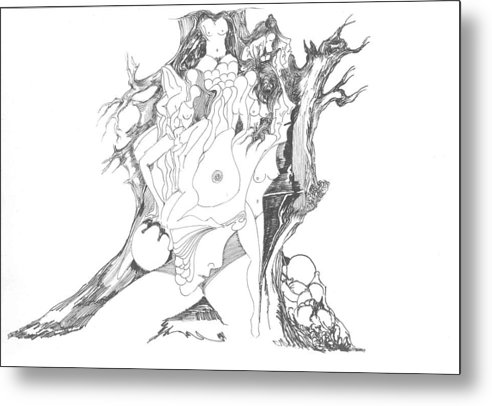 Surreal Metal Print featuring the drawing A Tree Human Forms And Some Rocks by Padamvir Singh
