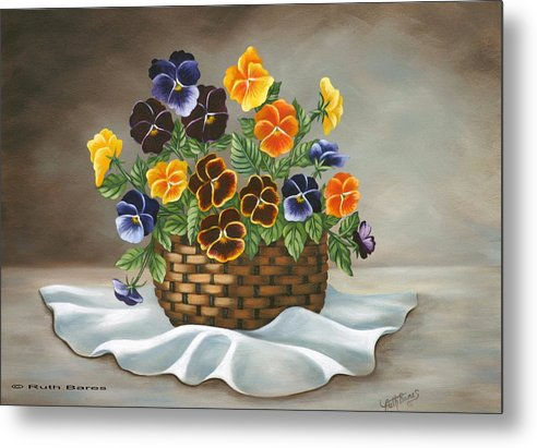 Floral Metal Print featuring the painting Pansy Basket by Ruth Bares
