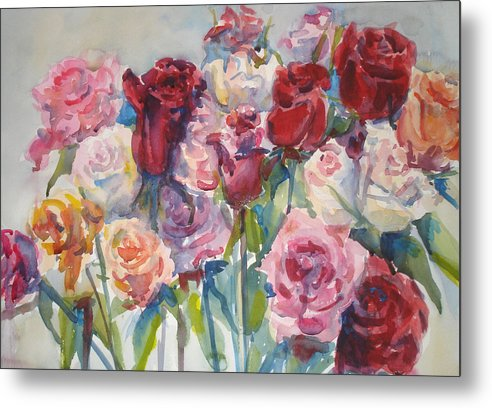 Roses Metal Print featuring the painting Paul's Roses II by Joyce Kanyuk