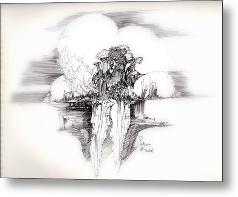 Surreal Metal Print featuring the drawing Women Rocks And Clouds by Padamvir Singh
