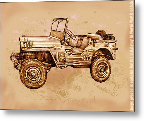 Us Army Jeep In World War 2 - Stylised Modern Drawing Art Sketch Metal Print featuring the drawing Us Army Jeep In World War 2 - Stylised Modern Drawing Art Sketch by Kim Wang