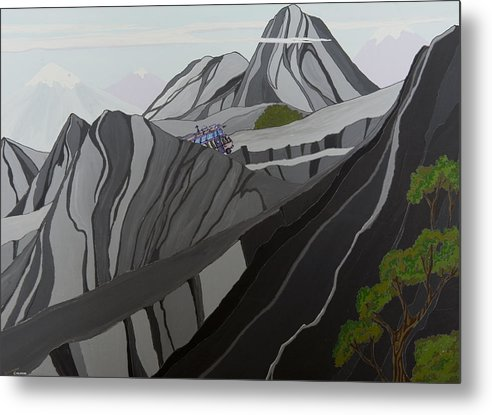 Wild Thornberrys Animation Background Andes Humvee Cartoons Klasky Csupo Metal Print featuring the painting Cruisin' The Andes by Brenda Salamone