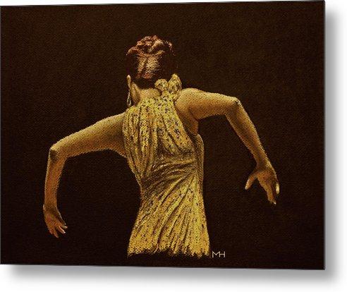 Flamenco Metal Print featuring the drawing Flamenco Dancer In Yellow Dress by Martin Howard