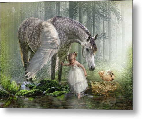 Horse Metal Print featuring the digital art Special Friends by Trudi Simmonds