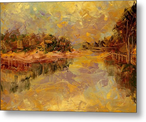 Landscape Metal Print featuring the painting Bass River by Olga Gernovski