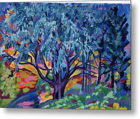 Landscape Metal Print featuring the painting Blue Tree Far Country by Doris Lane Grey