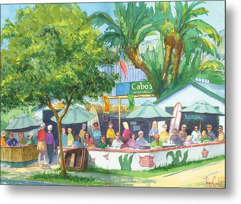Cafe Metal Print featuring the painting Cabos Bar And Grill by Ray Cole