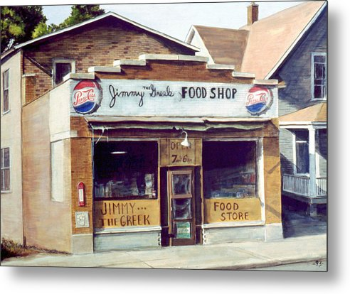 Small Town Metal Print featuring the painting Jimmy The Greek by William Brody