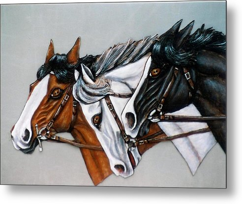 Horses Metal Print featuring the painting The Winner Is. by Lilly King
