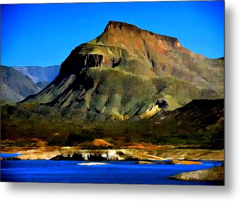 Theodore Roosevelt Metal Print featuring the painting Theodore Roosevelt Lake Arizona by Bob and Nadine Johnston