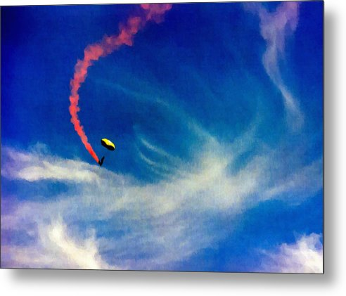 Golden Metal Print featuring the painting Golden Knights Painting by Bob and Nadine Johnston
