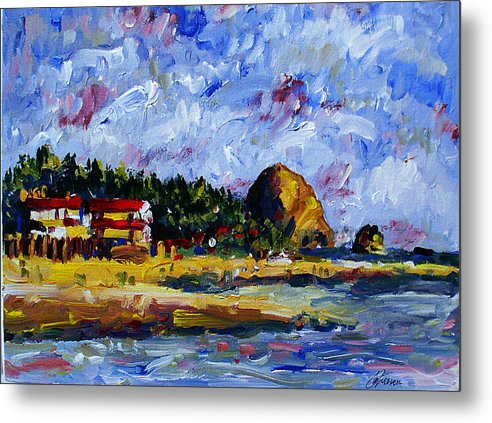Landscapes Metal Print featuring the painting Ecola Creek Estuary by Michael Tieman