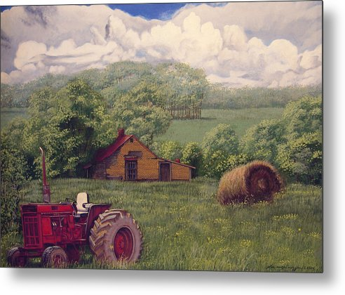 Landscape Metal Print featuring the painting Idle In Godfrey Georgia by Peter Muzyka