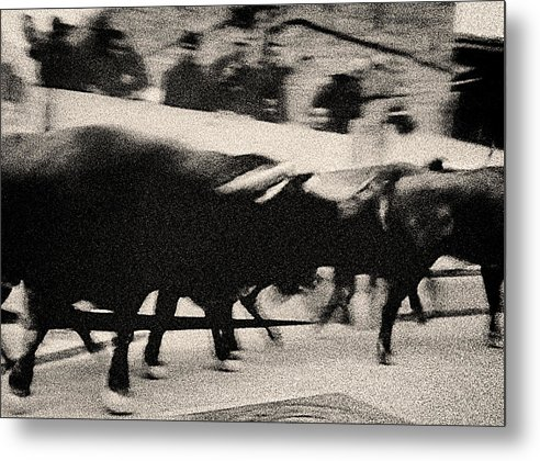 San Fermin Metal Print featuring the photograph Bull Run 3 by Rafa Rivas