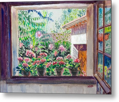 Window Metal Print featuring the painting In The Bathroom by Aymeric NOA