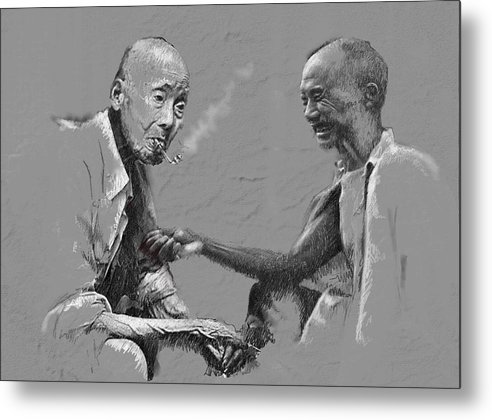 Chinise Men Metal Print featuring the painting Smoke Time by James Robinson