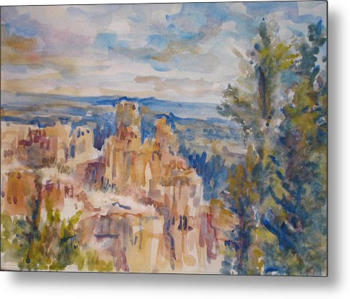 Landscape Metal Print featuring the painting Bryce Canyon by Joyce Kanyuk