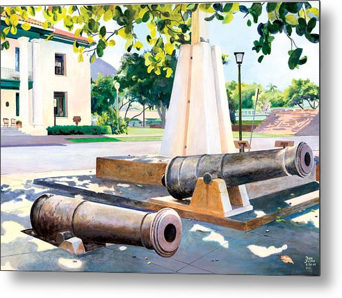 Lahaina Maui Cannons Metal Print featuring the painting Lahaina 1812 Cannons by Don Jusko