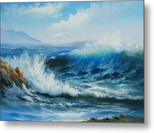 Seascape Metal Print featuring the painting Breaking Up Is Hard To Do by Imagine Art Works Studio