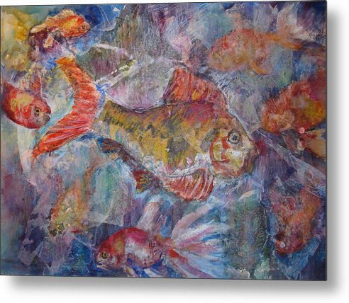 Fish Metal Print featuring the mixed media Fish Fantasy by Joyce Kanyuk