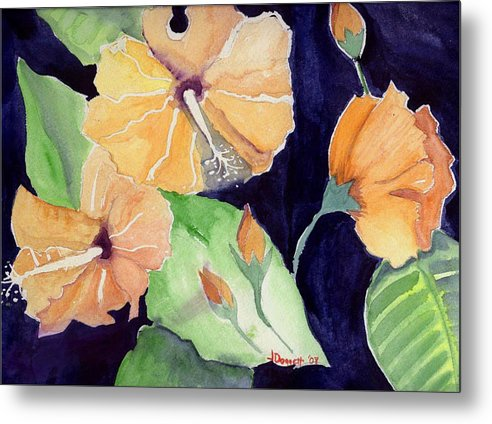 Orange Flowers Metal Print featuring the painting Floral Affair by Janet Doggett