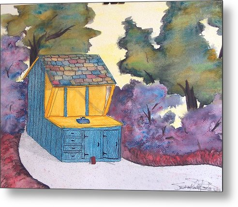 Watercolors Metal Print featuring the painting Jean's Bathhouse by Saundra Lee York