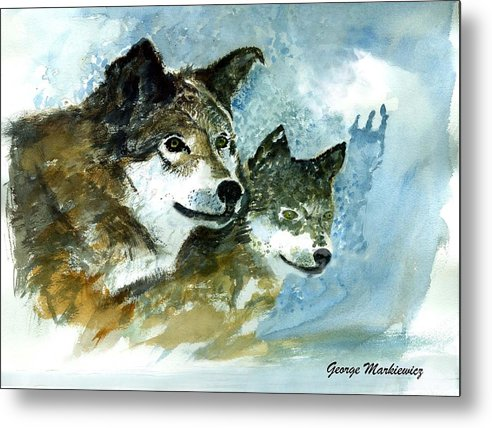 Wolves Metal Print featuring the print Leader Of The Pack by George Markiewicz