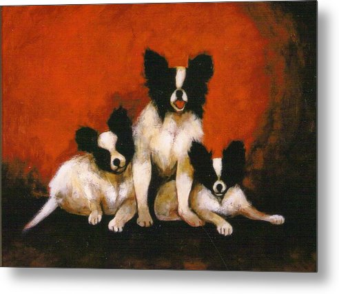 Three Dogs Metal Print featuring the painting Papillons by Christine McGinnis